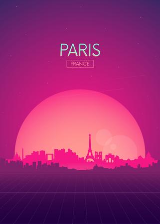 Travel poster vectors illustrations, Futuristic retro skyline Paris Illustration