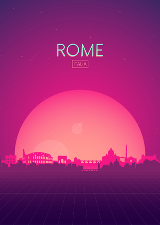 Travel poster vectors illustrations, Futuristic retro skyline Rome Archivio Fotografico - 114026831