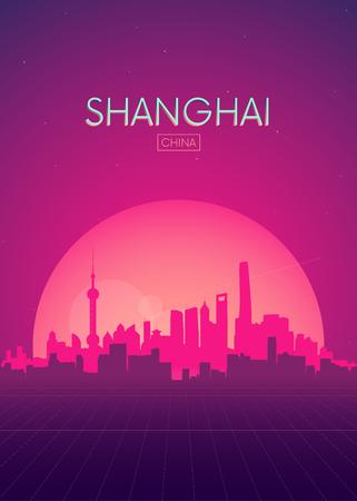 Ilustraciones de vectores de carteles de viaje, horizonte retro futurista Shanghai Ilustración de vector