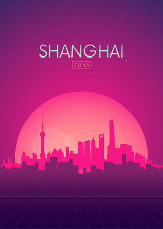 Travel poster vectors illustrations, Futuristic retro skyline Shanghai Çizim
