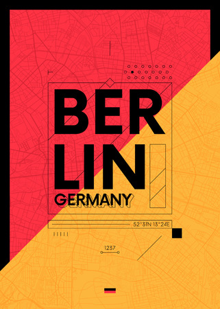 Typography graphics with a map of Berlin, Vector travel illustration