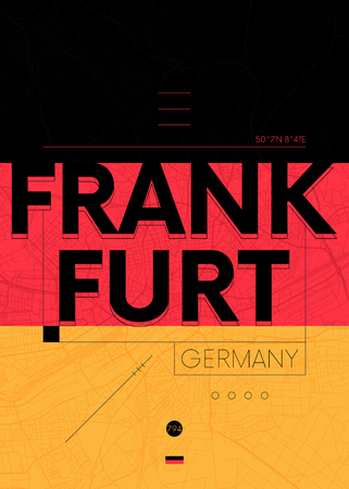 Typography graphics with a map of Frankfurt, Vector travel illustration  イラスト・ベクター素材