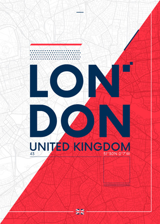 Typography graphics color poster with a map of London, Vector travel illustration 스톡 콘텐츠 - 114027141