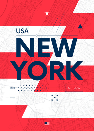 Typography graphics color poster with a map of New York, Vector travel illustration Çizim