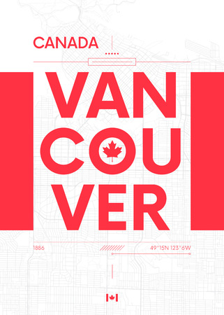 Typography graphics with Vancouver, Vector travel illustration