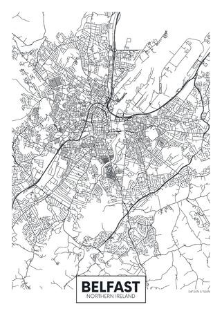 Vector poster detailed city map Belfast Illustration