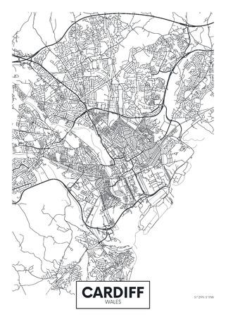 Vector poster detailed city map Cardiff Illusztráció