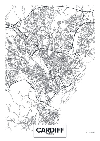 Vector poster detailed city map Cardiff Ilustração