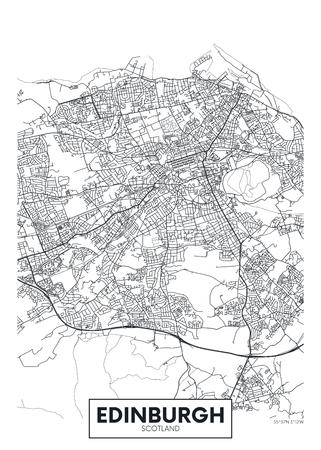 Cartel de vector detallado mapa de la ciudad de Edimburgo
