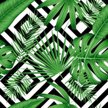 Exotic vector seamless pattern with tropical leaves on a geometric background