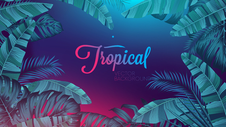 Red blue neon light, trendy background with tropical vector plant and leaf Vectores