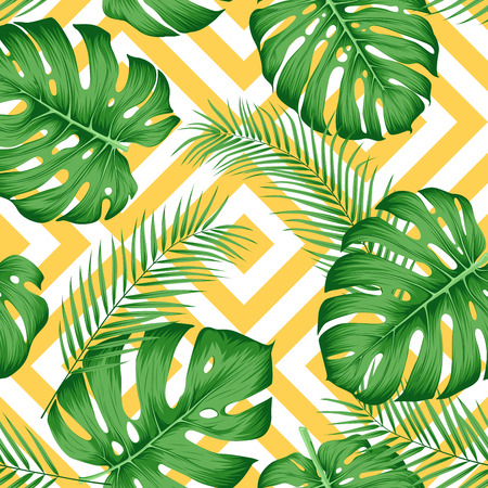 Seamless exotic pattern with tropical leaves on a geometric background with yellow rhombuses