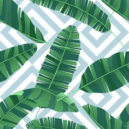 Seamless pattern tropical banana leaves on a geometrical ornament