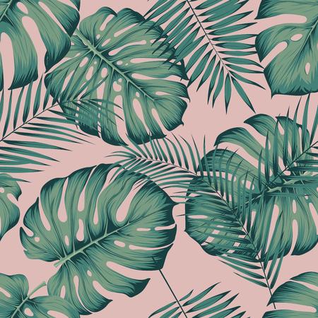 Modello tropicale senza cuciture con foglie monstera e foglia di palma areca su sfondo rosa