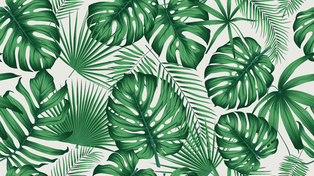 Trendy seamless tropical pattern with exotic leaves and plants jungle