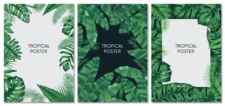 Carte di design vettoriale e striscioni con foglie esotiche, set stampabili tropicali