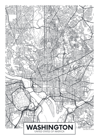 City map Washington, travel vector poster design