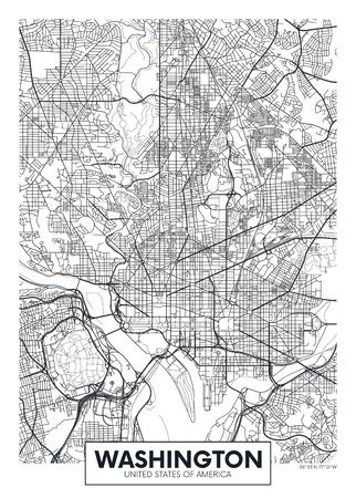 City map Washington, travel vector poster design