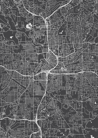 City map Atlanta, monochrome detailed plan, vector illustration Ilustração