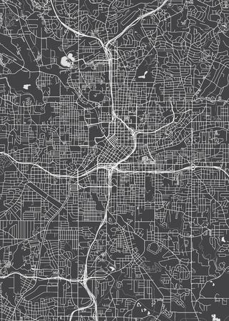 City map Atlanta, monochrome detailed plan, vector illustration Illustration
