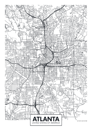 City map Atlanta, travel vector poster design Vettoriali