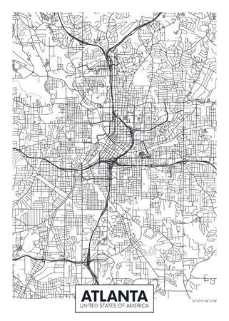 Mappa della città di Atlanta, poster design vettoriale di viaggio