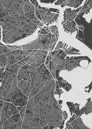City map Boston, monochrome detailed plan, vector illustration