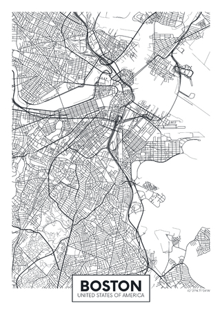 City map Boston, travel vector poster design 矢量图像