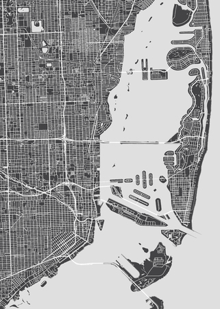 City map Miami, monochrome detailed plan, vector illustration 向量圖像