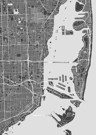 Stadtplan Miami, monochromer detaillierter Plan, Vektorillustration