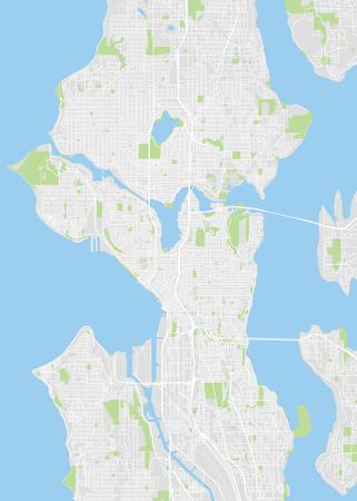 City map Seattle, color detailed plan, vector illustration Illustration