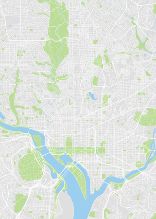 City map Washington, color detailed plan, vector illustration Çizim