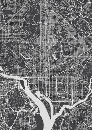 Stadtplan Washington, monochromer detaillierter Plan, Vektorillustration