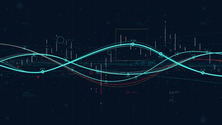 Statistics big data analytics indicators, business strategy digital graph indicating progress for financial presentation