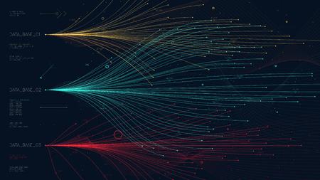 Lignes de tendance informations analytiques sur l'économie de marché, graphique à barres de fils de données complexes pour la présentation financière