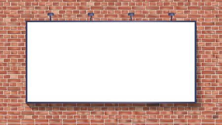 Maqueta de cartelera blanca en la ilustración de vector de pared de ladrillo uso para su publicidad o producto