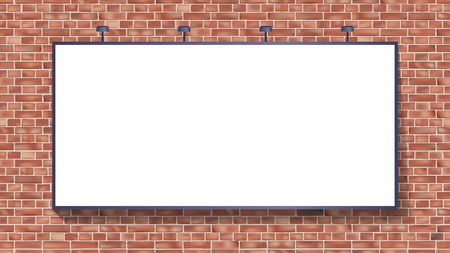 White billboard mockup on brick wall vector illustration use for your advertising or product Foto de archivo - 123721441