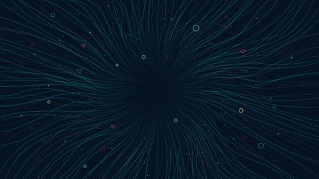 Image abstraite visuelle, réseau de communication sans fil connecté à Internet, informations Web et codage pour la présentation financière