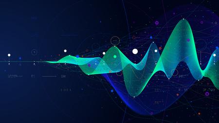 Presentación de análisis de negocios de infografía futurista de flujo de datos grandes, ilustración vectorial