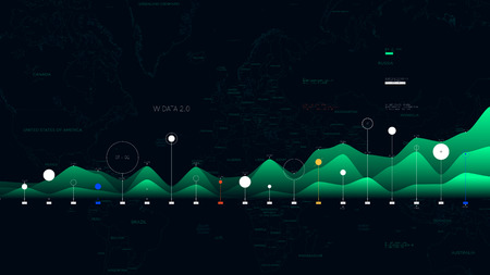 Big data visualization business analytics on the background of the world map for your design Ilustrace