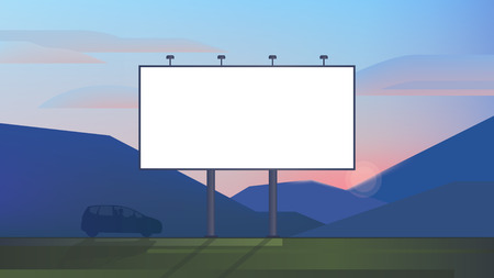 Blank advertising billboard canvas mockup on backdrop landscape use for your advertising or product
