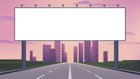 Blank billboard on the highway with city skyline background use for your advertising or product