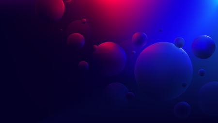 Bright red-blue glow reflecting on flying spheres, Colorful gradient round shapes, Retro futuristic neon cyberpunk background for your design