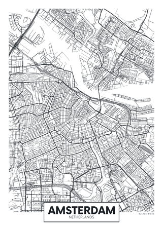City map Amsterdam, travel vector poster design detailed plan of the city, rivers and streets Çizim