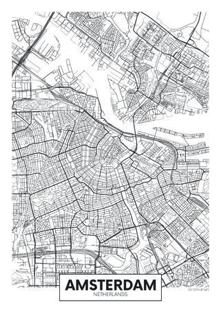 Stadsplan Amsterdam, reis vector poster ontwerp gedetailleerd plan van de stad, rivieren en straten