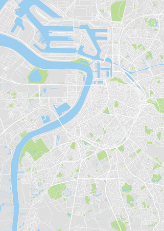 Antwerp city plan, detailed vector map detailed plan of the city, rivers and streets