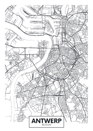City map Antwerp, travel vector poster design detailed plan of the city, rivers and streets