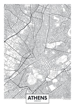Stadtplan Athen, Reisevektorplakatdesign detaillierter Plan der Stadt, der Flüsse und der Straßen