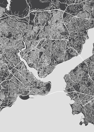 Istanbul city plan, detailed vector map detailed plan of the city, rivers and streets Ilustração