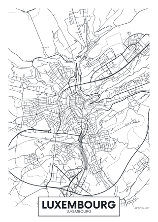 City map Luxembourg, travel vector poster design detailed plan of the city, rivers and streets